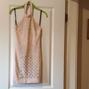 Bebe pink and gold stud dress
